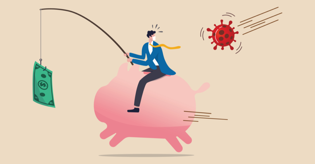 illustration of a man riding a piggy bank and running from coronavirus